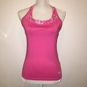 UNDER ARMOUR Sz M Pink & White Athletic Top